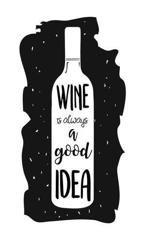Hand getrokken illustratie met fles wijn en belettering. vector