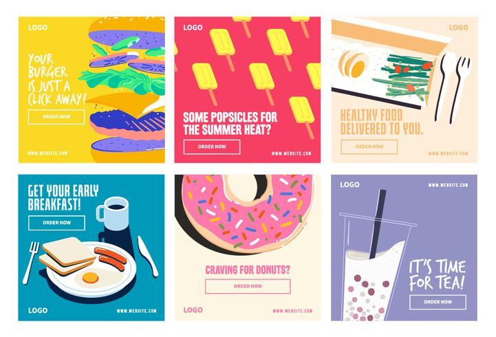 Voedingsdranken social media post collectie sjabloon vector