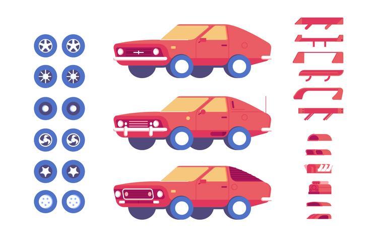 Auto voertuig onderdelen maatwerk mod illustratie set vector