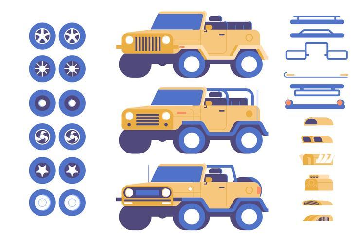 Jeep auto-onderdelen maatwerk mod illustratie set vector
