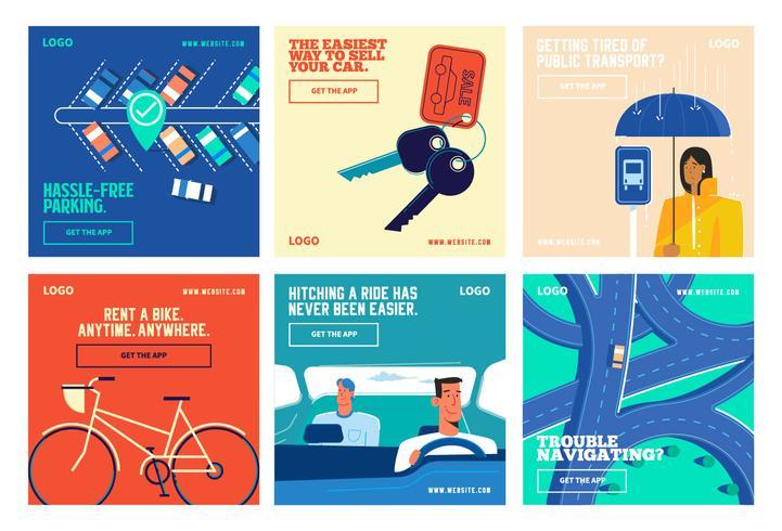 Transport voertuig rit app social media post collectie sjabloon vector
