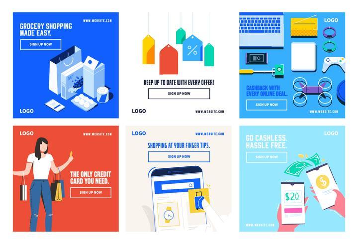 Online winkelen social media post collectie sjabloon vector