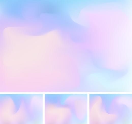 Reeks abstracte vloeibare of vloeibare achtergrond van het gradiënt blauwe en roze netwerk. Stijlvolle holografische achtergrond met mesh 90s, jaren 80 retrostijl. U kunt gebruiken voor sjabloon voor brochure, flyer, posterontwerp, behang, folder, mobiel  vector
