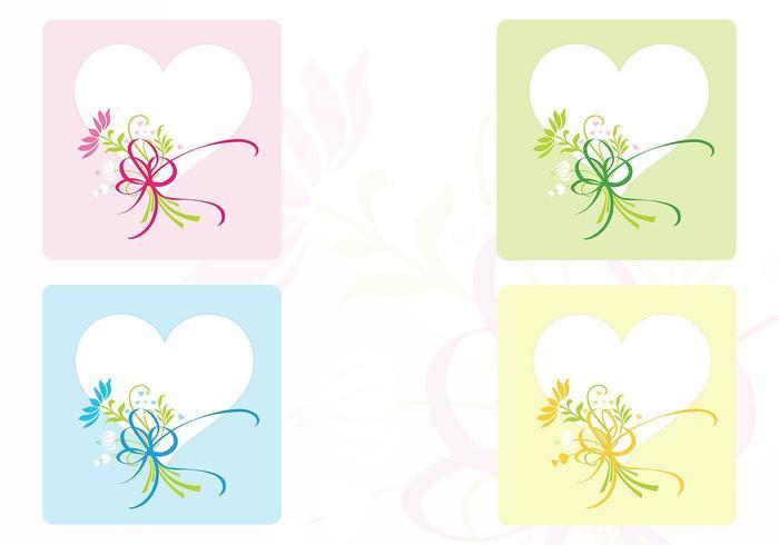 Hart & bloem achtergrond Vector Pack