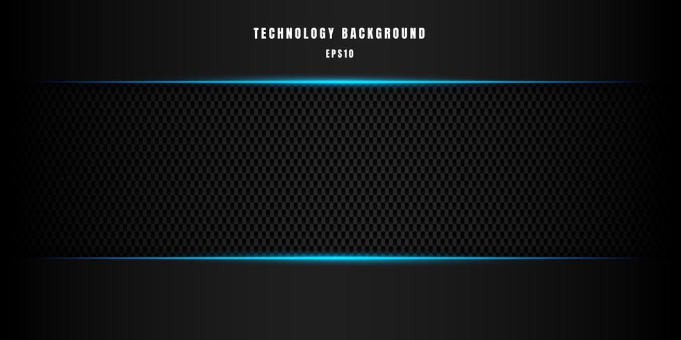 Sjabloon abstracte technologie stijl metallic blauwe glanzende kleur zwart frame lay-out moderne tech ontwerp koolstofvezel achtergrond en textuur. vector