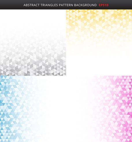 Reeks van abstract gestreept grijs, geel, blauw, roze patroon van kleuren geometrisch driehoeken op witte achtergrond en textuur met exemplaarruimte. vector