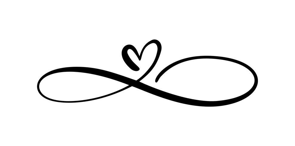 Liefdehart In het teken van oneindigheid. Teken op briefkaart naar Valentijnsdag, bruiloft print. Vector kalligrafie en belettering illustratie geïsoleerd op een witte achtergrond