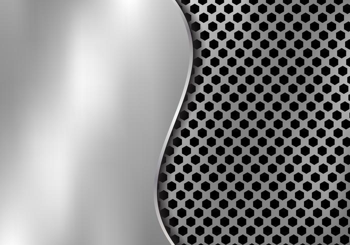 Abstracte zilveren metaalachtergrond die van hexagon patroontextuur wordt gemaakt met het ijzer van het krommingsblad. Geometrische zwart en wit. vector