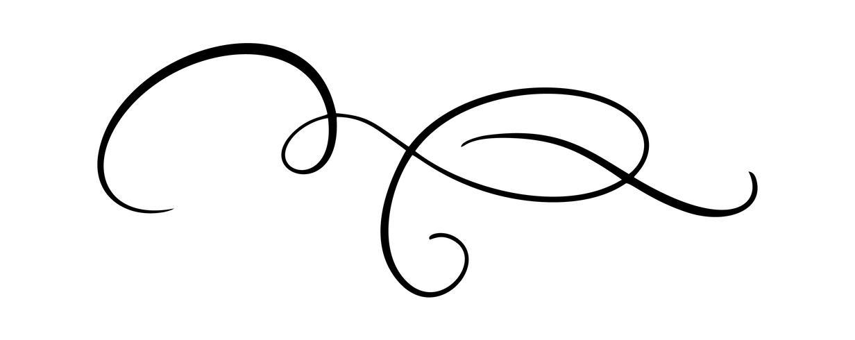 Vector kalligrafie-element bloeien. Hand getrokken scheidingslijn voor pagina decoratie en frame ontwerp illustratie swirl ornament. Decoratief voor trouwkaarten en uitnodigingen