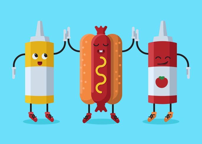 Hotdog zomer voedingsmiddelen Concept Vector