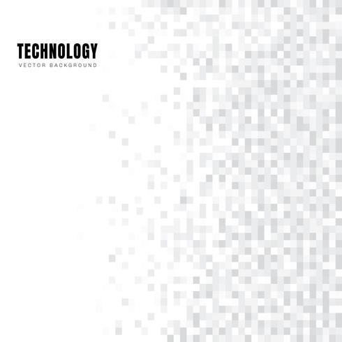Abstracte geometrische witte en grijze vierkantenpatroonachtergrond en textuur met exemplaarruimte. Technologie stijl. Mozaïek raster. vector