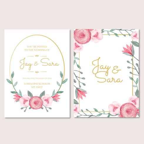 Bruiloft uitnodiging sjabloon met bloemen vector
