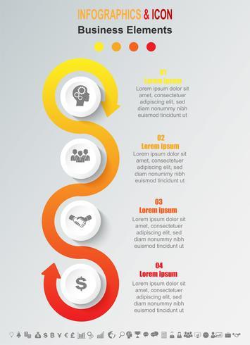 Infographic zakelijke tijdlijn proces grafieksjabloon. vector