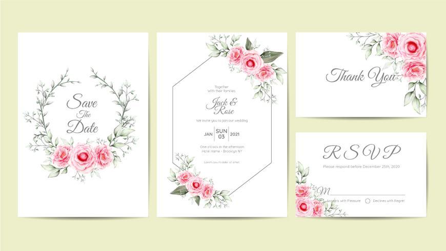 Elegante aquarel bloemen bruiloft uitnodiging kaarten sjabloon. Hand Tekening bloem en takken Bewaar de datum, groet, bedankt, en RSVP-kaarten Multipurpose vector