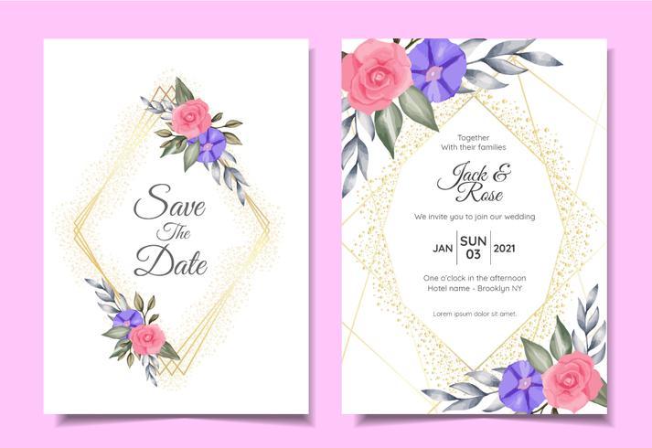 Moderne bruiloft uitnodiging kaarten sjabloon van aquarel bloemen, gouden geometrische Frame en Sparkle. Bewaar de datum en het multifunctionele concept van de groetkaart vector