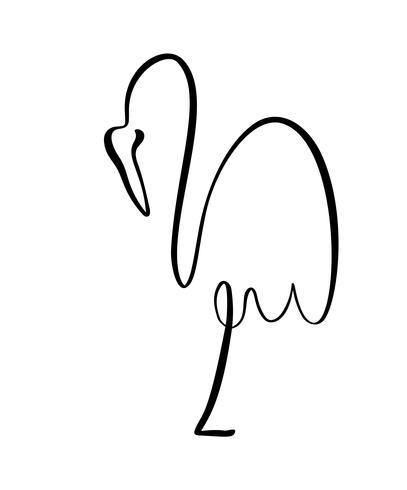 Flamingo die op één embleem van de been ononderbroken lijn blijft. Vectorillustratie van vogelvorm. Hand getrokken element geïsoleerd op een witte achtergrond voor logo decoratieve elementstijl vector