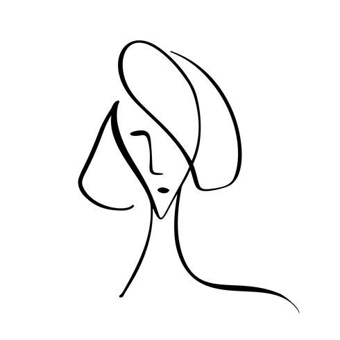 Fasion stijl vectorillustratie. Hand getrokken van vrouwengezicht, minimalistisch concept. Gestileerde doodle lineaire vrouwelijke hoofd huidverzorging logo of schoonheid pictogram vector
