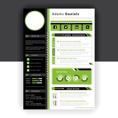 groene CV sjabloon vector