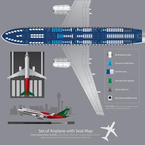 Set van vliegtuig met zetel kaart geïsoleerd vectorillustratie vector