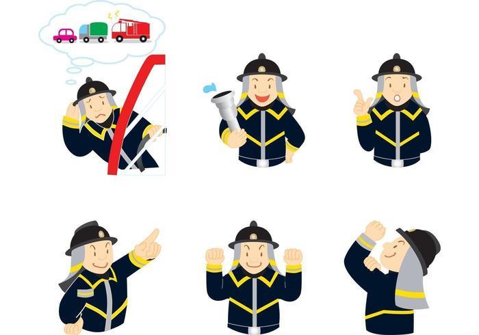 Expressieve brandweerman Vector Pack