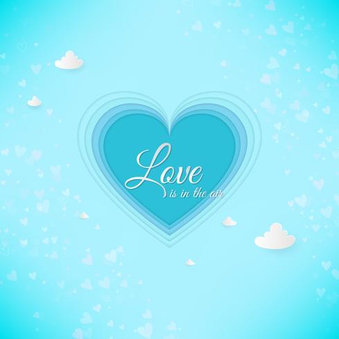 Papier kunst hart, liefde uitnodigingskaart. Valentijnsdag abstracte achtergrond. Wolken, papier gesneden blauw hart vector