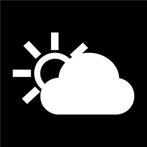 wolk zon pictogram vector