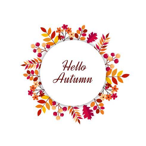 Hallo herfstbladeren frame vector
