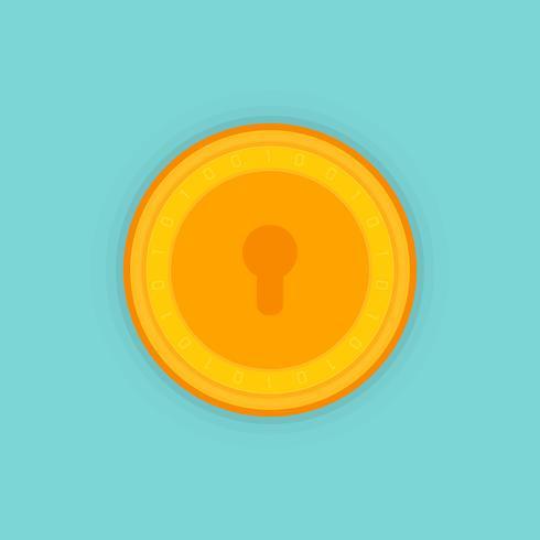 Bitcoin-beveiliging, Bitcoin mobiele beveiliging, veiligheid, sparen, beveiligingsconcept. Bitmunt cryptocurrency, blockchain. vector