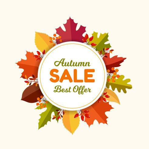 Herfstbladeren verkoop frame vector