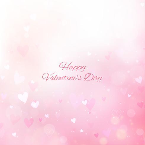 De dagachtergrond van de valentijnskaart met harten en bokeh vector