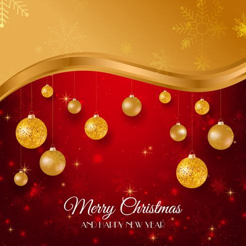 Vrolijke Kerstmis gouden en rode achtergrond met gouden Kerstmisballen vector