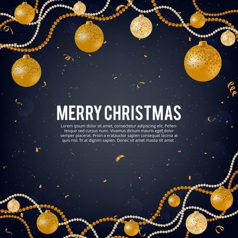 Vectorillustratie van vrolijk Kerstmis gouden en zwarte kleurenplaats voor tekst, gouden Kerstmisballen, gouden schitter snuisterijen, parelachtige balslingers en confettien vector