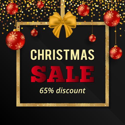 Goud glitter Kerstmis verkoop banner met rode kerstballen. Kerst verkoop teken. Gouden vierkant frame met zijdeachtige strik en kerstballen. vector