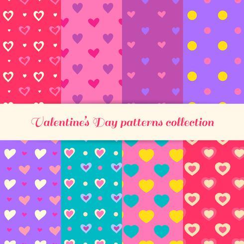 Valentijnsdag patronen collectie. Liefdespatronen. Valentijnsdag patronen vector