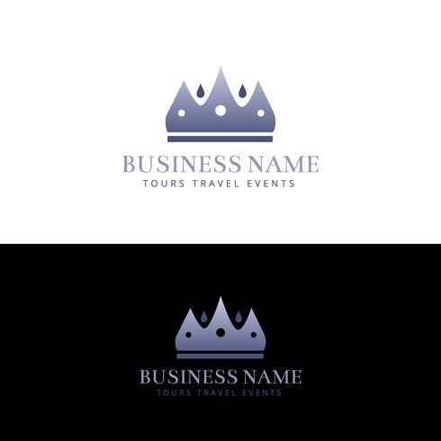 Ontwerp met paarse kroon en abstract logo vector