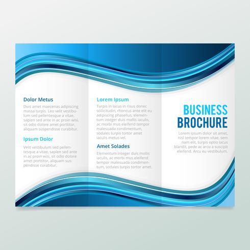 Blauwe golven driebladige brochure, zakelijke brochure sjabloon, trend brochure. vector