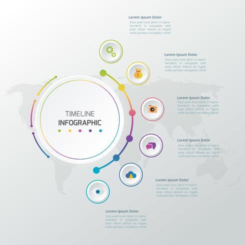 Vector infographics tijdlijn ontwerpsjabloon met 3D-papier label, geïntegreerde cirkels achtergrond. Lege ruimte voor inhoud, zaken, infographic, diagram, stroomschema, diagram, tijdlijn of stappenproces