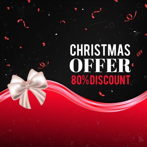 Rode Kerstmis verkoop achtergrond met sneeuwvlokken, confetti, boog en abstracte golven vector