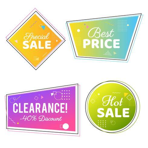 Trendy verkoop geometrische bubbels, platte vormen. Kortingsaanbieding prijsetiketten vector