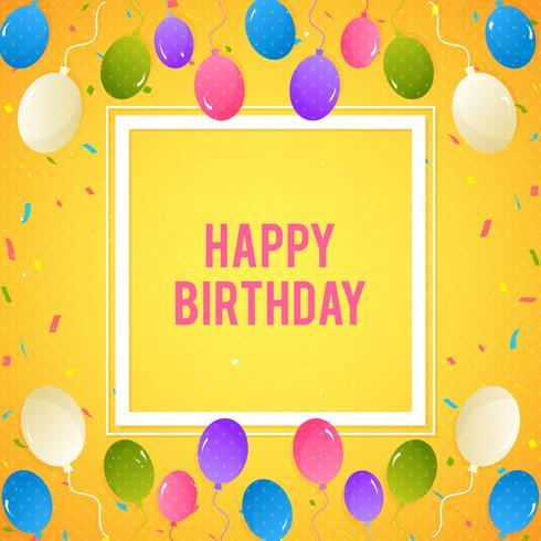 Kleurrijke verjaardag achtergrond met ballonnen en confetti vector