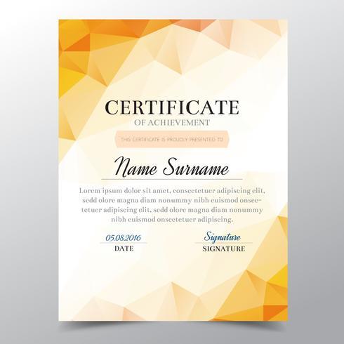 Certificaatsjabloon met oranje geometrische elegant ontwerp, diploma ontwerp afstuderen, award, succes. vector