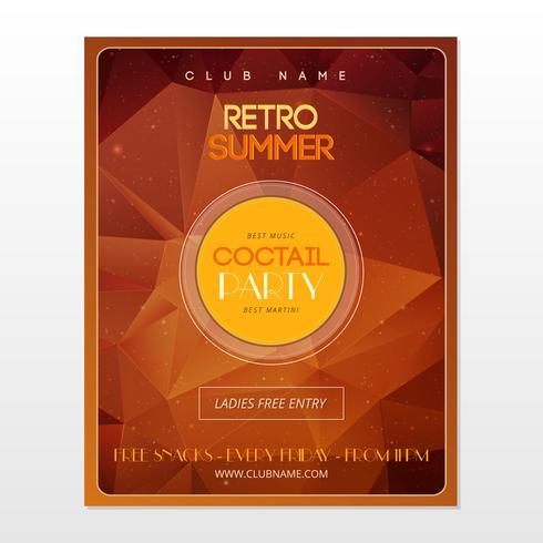 Geometrische oranje retro partij poster vector