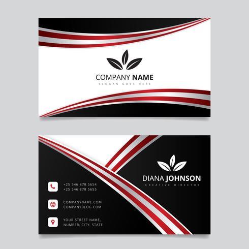 Moderne eenvoudige visitekaartje vector sjabloon. Creatieve en schoon dubbelzijdig visitekaartje sjabloon. Rode en zwarte kleuren. Platte ontwerp vectorillustratie. Briefpapierontwerp