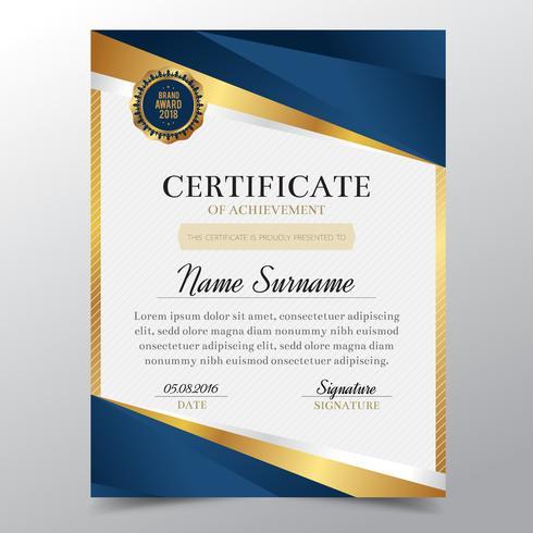 Certificaatmalplaatje met Luxe gouden en blauw elegant ontwerp, de graduatie van het Diplomaontwerp, toekenning, succes Vector illustratie.