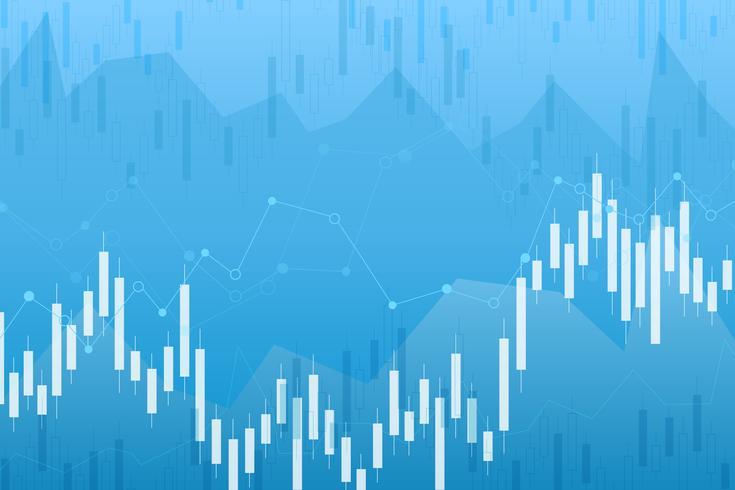 De grafiek van de kaarsstokgrafiek van effectenbeursinvestering handel, Stierpunt, punt Bearish. trend van grafiek vector ontwerp.