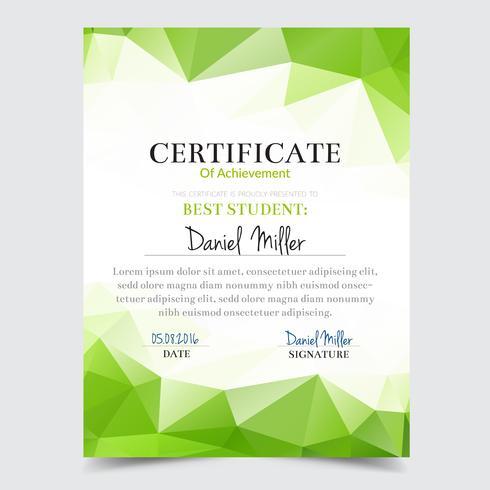 Certificaatsjabloon met groen geometrisch elegant ontwerp, de graduatie van het Diplomaontwerp, toekenning, succes. vector