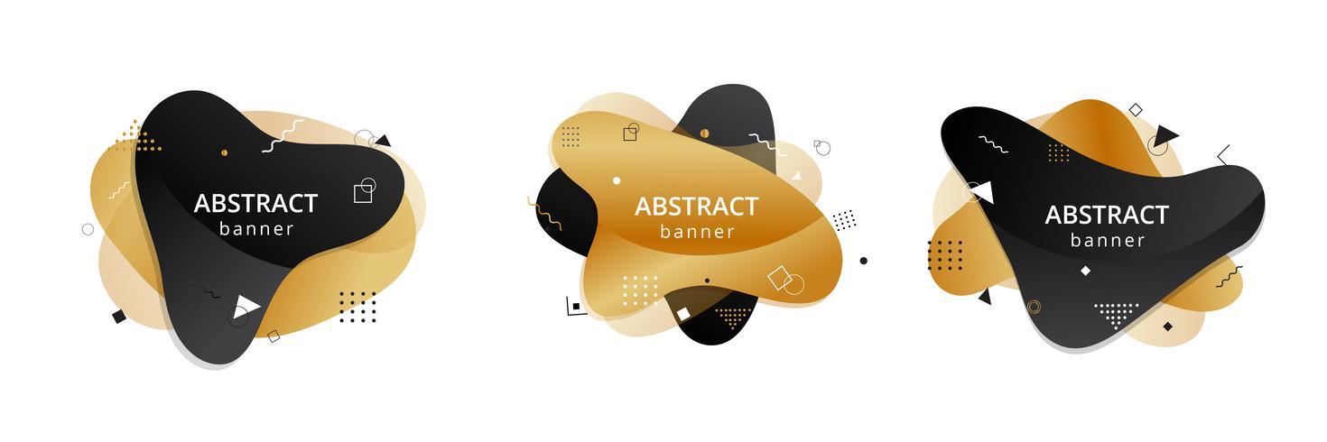 Gouden en zwarte abstracte vloeibare vorm. Vloeiend ontwerp. Geïsoleerde gradiëntgolven met geometrische lijnen, punten vector