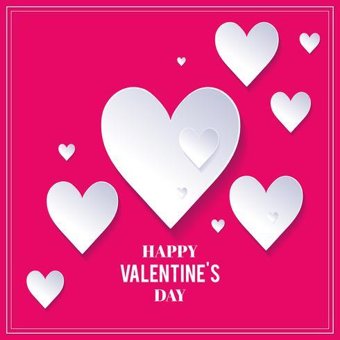 Roze Valentijnsdag achtergrond met witte harten. Witte harten op roze achtergrond. Valentijnsdag achtergrond vector
