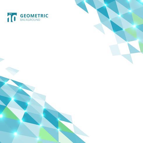Abstract blauw driehoeken geometrisch perspectief op witte achtergrond. vector