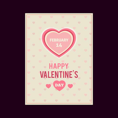 Happy Valentijnsdag kaart, typografie, achtergrond met harten vector